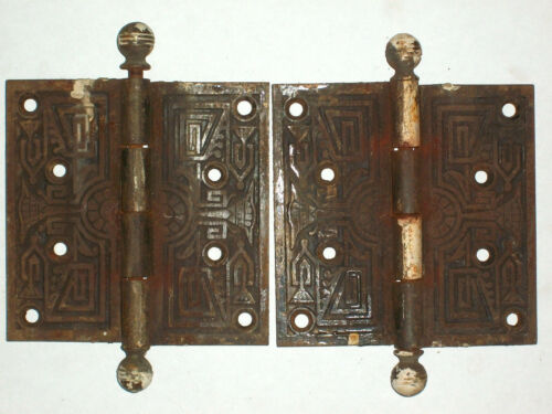 Antique Victorian Eastlake Hinges Late 1800/'s  Extra Large