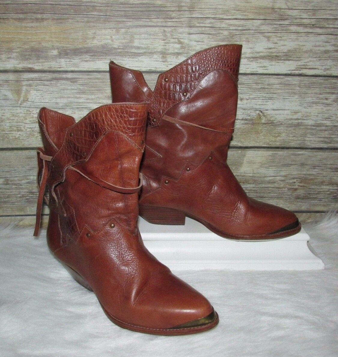 Vntg Rush Hour Brown Genuine Leather Western Style Croc Trim Ankle Boots Sz 6.5B