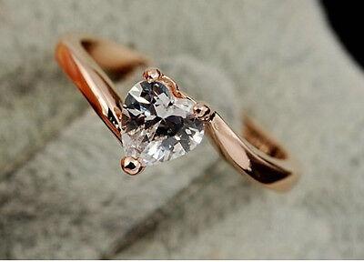 18K Rose Gold GP Swarovski Crystal Heart Beautiful Ring