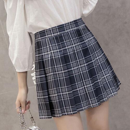 Women Checked Skirts High Waist Pleated Plaid Mini Skirt College Summer