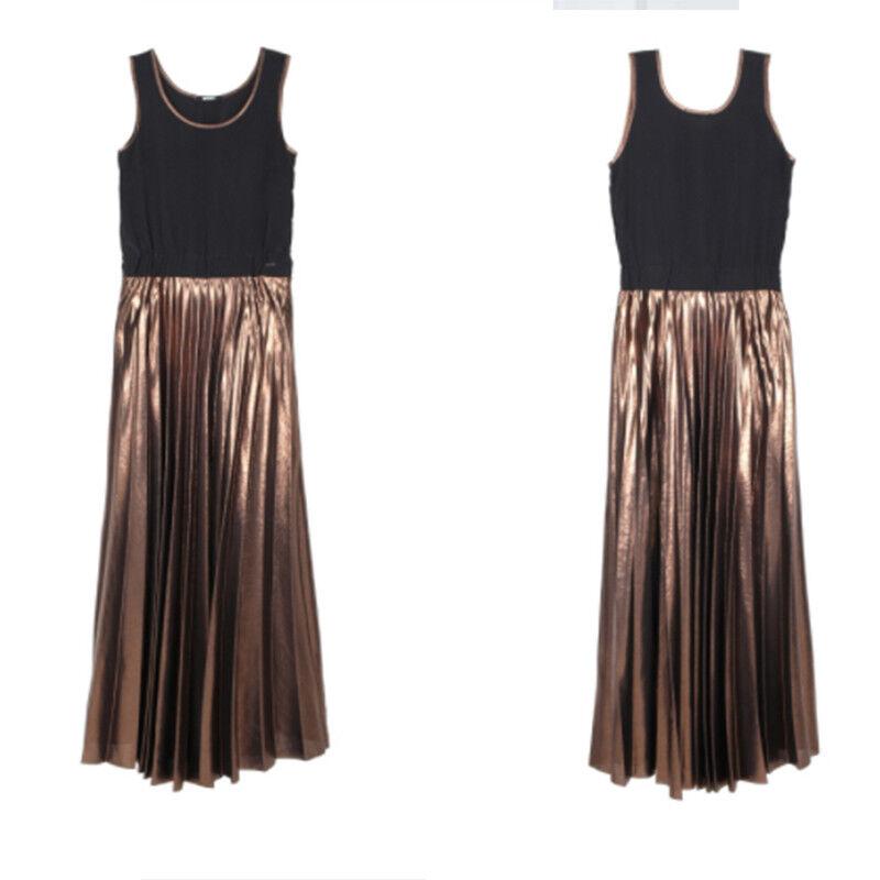 Kleid Frau Imperfekt IW17W50AJ IW17W50AJ IW17W50AJ schwarz lang Plissee Bronze sm | Stilvoll und lustig  | Verkauf Online-Shop  | Schönes Aussehen  854072