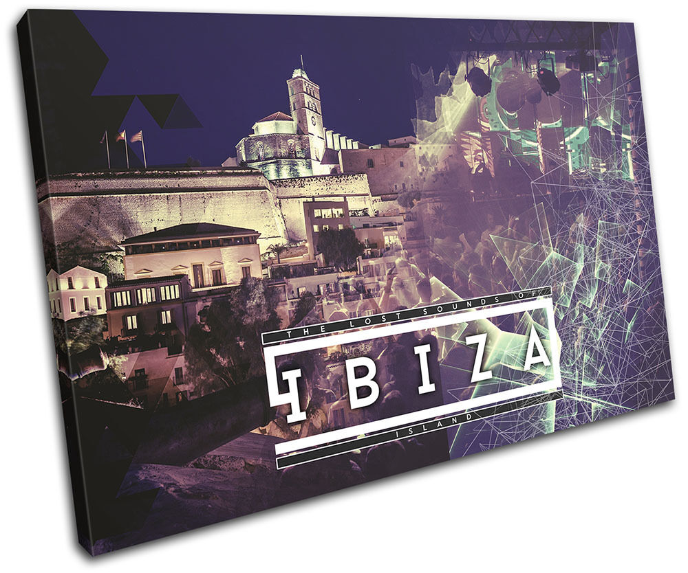Ibiza Island Typography DJ Club SINGLE TOILE murale ART Photo Print
