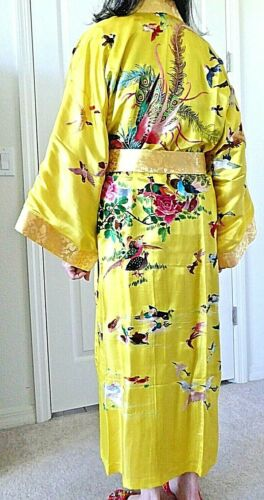 Vintage Chinese Embroidery Phoenix Birds Roses Sil