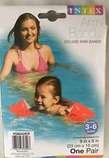 "INTEX Orange Inflatable 6X9"" Delux Swimming Arm Bands - 1 Pair"