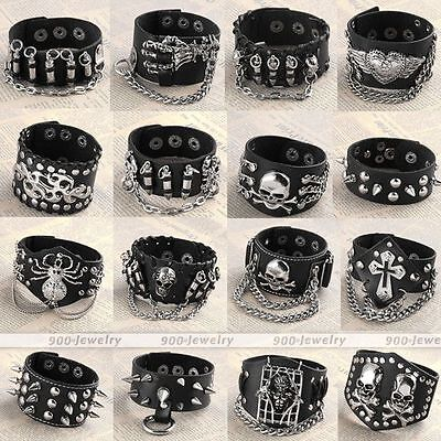 Mens Punk Goth Biker Wide Real Cowhide Leather Wristand Cuff Bracelet Cool Gift