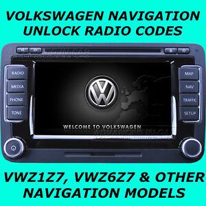 VW Volkswagen RNS /& MFD2 Código Desbloqueo De Radio Para Modelos de navegación