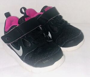 the latest 72204 9402e Details about Nike Free 5.0 Toddler Black/Pink Girl's Sneakers 580595-001 4C