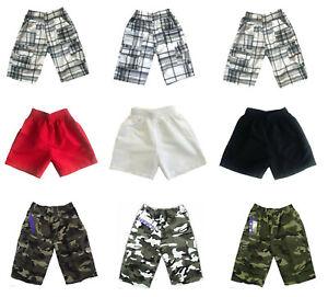 Linea-Ragazzo-Bambino-Esercito-Mimetico-Militare-Combat-corte-Shorts-E-Pantaloncini-Tinta-Unita-Swim