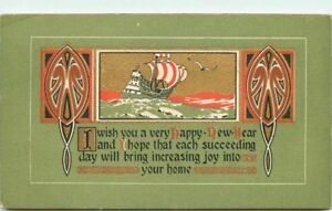 Arts-Crafts-saying-New-Year-Sailship-postcard-879