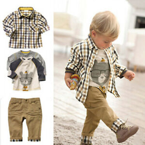 Boy's Plaid Tops and Koala Printed T-Shirt and Pants 3 Pieces Clothing Sets Kids