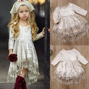 Princess-Kids-Baby-Flower-Girls-Dress-Long-Sleeve-Velvet-Tassel-Party-Dress