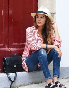 65066b375f Image is loading Zara-striped-red-white-shirt-blouse-bloggers-size-