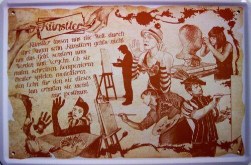 Beruf Künstler Blechschild Schild Blech Metall Metal Tin Sign 20 x 30 cm