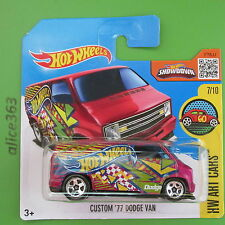 HOT WHEELS 2016-Custom'77 DODGE VAN-HW tipo CARS - 197-NUOVO IN SCATOLA ORIGINALE