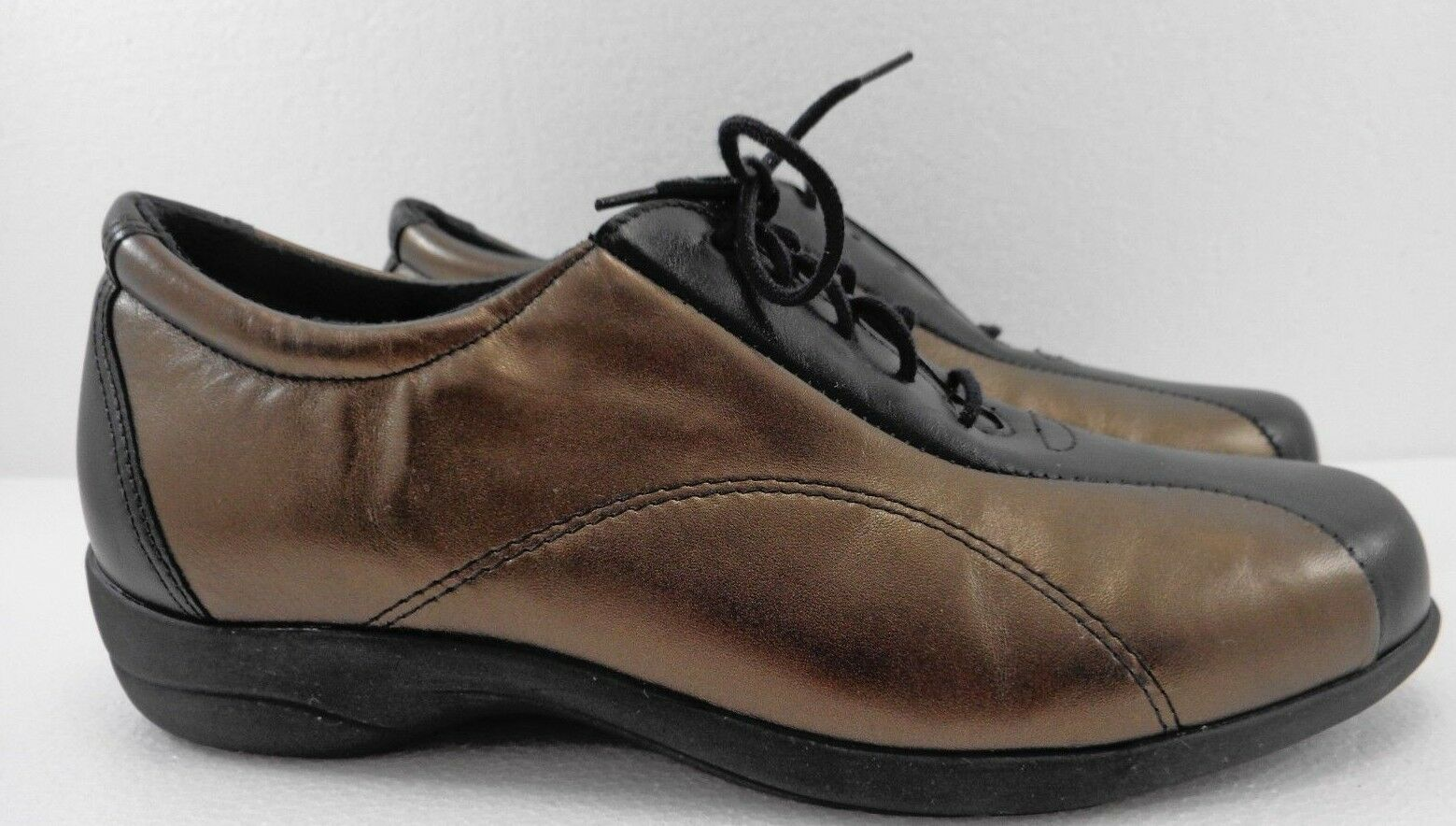 Munro  Womens 6.5 W Sport Bronze & Black Leather Oxfords shoes Made in USA