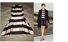 Dior NEW S'13 Striped Black Pink Full Skirt HorseShoe High-Low Dress 40Fr/6-8US