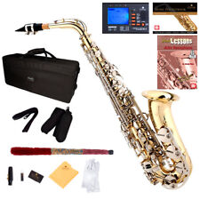 Mendini Gold Lacquer and Nickel Keys Alto Saxophone with Sax 10 Reeds Tuner Case