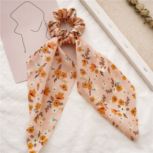 Women Boho Printed Ponytail Scarf Dot Elastic Scrunchies Long Ribbon Hair Rope