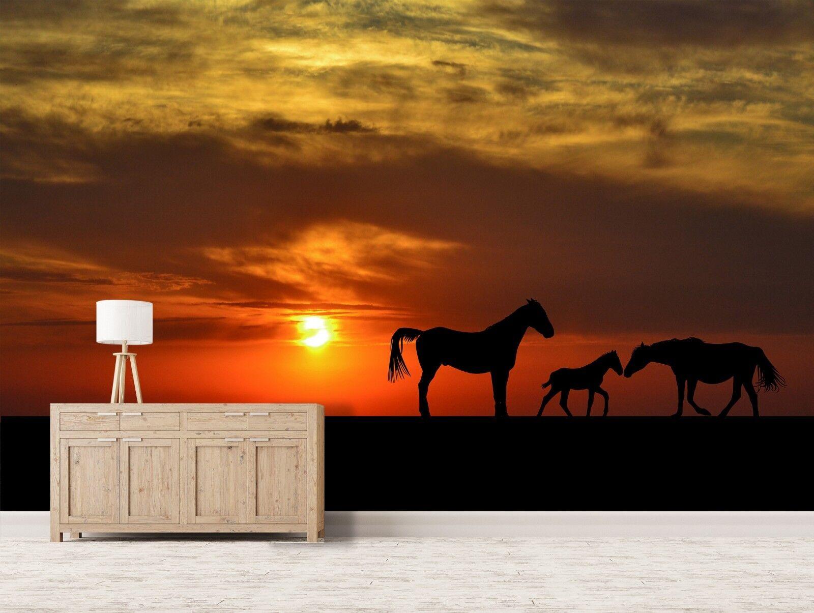 3D Dämmerung Pferd 7022 Tapete Wandgemälde Tapete Tapeten Bild Familie DE Sidney