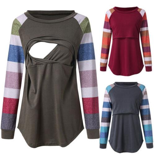 Maternity Women Nursing Top Long Sleeve Breastfeeding Blouse Maternity Clothes K