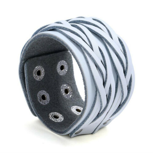 Unisex Punk Wide Braided Real Leather Cool Bangle Bracelet Cuff Adjustable
