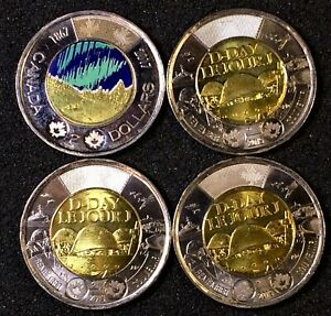 4-Canada-Commemorative-Toonies-2017-amp-2019-very-lightly-Circulated-J361