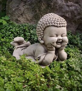 4238a9b2dad Image is loading STONE-GARDEN-LYING-BABY-MONK-BUDDHA-BUDDAH-STATUE-