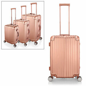 image is loading rose gold luggage suitcase spinner 4wheel tsa travel
