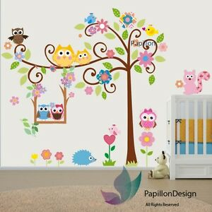 Animals-tree-owl-flower-Bird-Squirrel-Removable-Nursery-Baby-wall-Decal-sticker