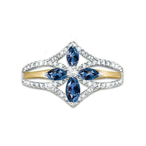 Kreuzförmige Two Tone Silver Party Ringe für Frauen F3R7 Mode Sapphi White G4I6