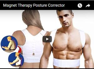 Unisex-Motorcycle-Posture-Therapy-Magnetic-Shoulder-Back-Brace-Belt-Vest-Size-XL