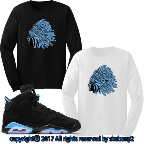 Nike Air Jordan VI RETRO 6 UNC CUSTOM LONG SLEEVE T SHIRT JD-6-4-27-L