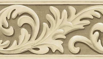 Leafy Scroll Wallpaper Border Brown and Cream  80B64177
