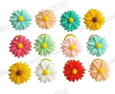 10pcs Daisy Flower Plastic Pet Dog Hair bows w/Rubber bands Grooming Accessories
