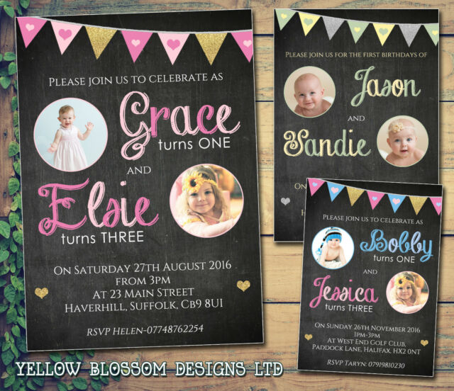 10 Personalised Birthday Party Invitations Chalkboard Bunting Joint Glitter Girl