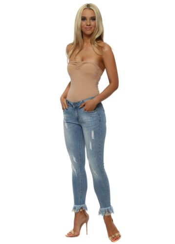 Redial Blue Stretch Fit Frayed Ankle Grazer Jeans