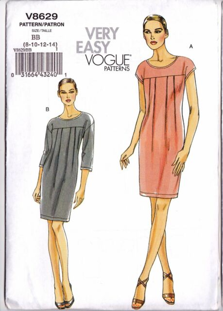 Vogue Very Easy Sew Pattern 8629 Pullover Sack Dress Stretch Knit