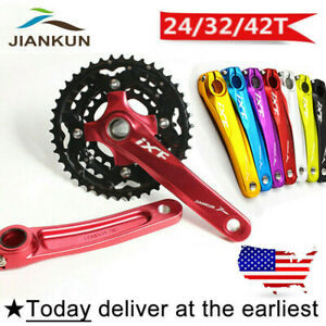 US-STOCK-24-32-42t-3X10s-104-64bcd-Triple-MTB-Bike-Crankset-170-Crank-Chainring