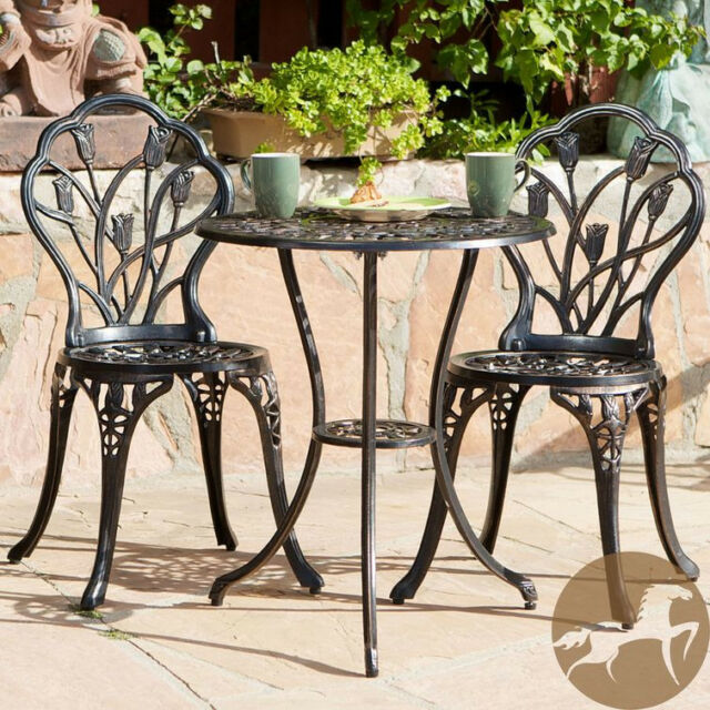 Outdoor Patio Set 3 Peace Bistro Furniture Table Chairs Garden Aluminum  Copper - Outdoor Patio Set 3 Peace Bistro Furniture Table Chairs Garden