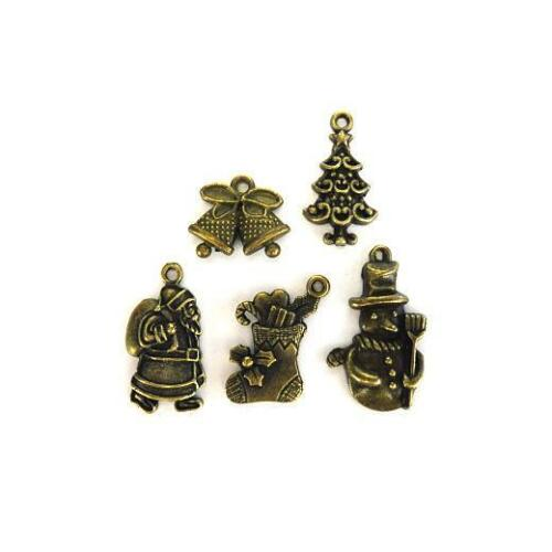 15pcs Christmas Mix AB62 Buddly Crafts Antique Bronze Metal Charms