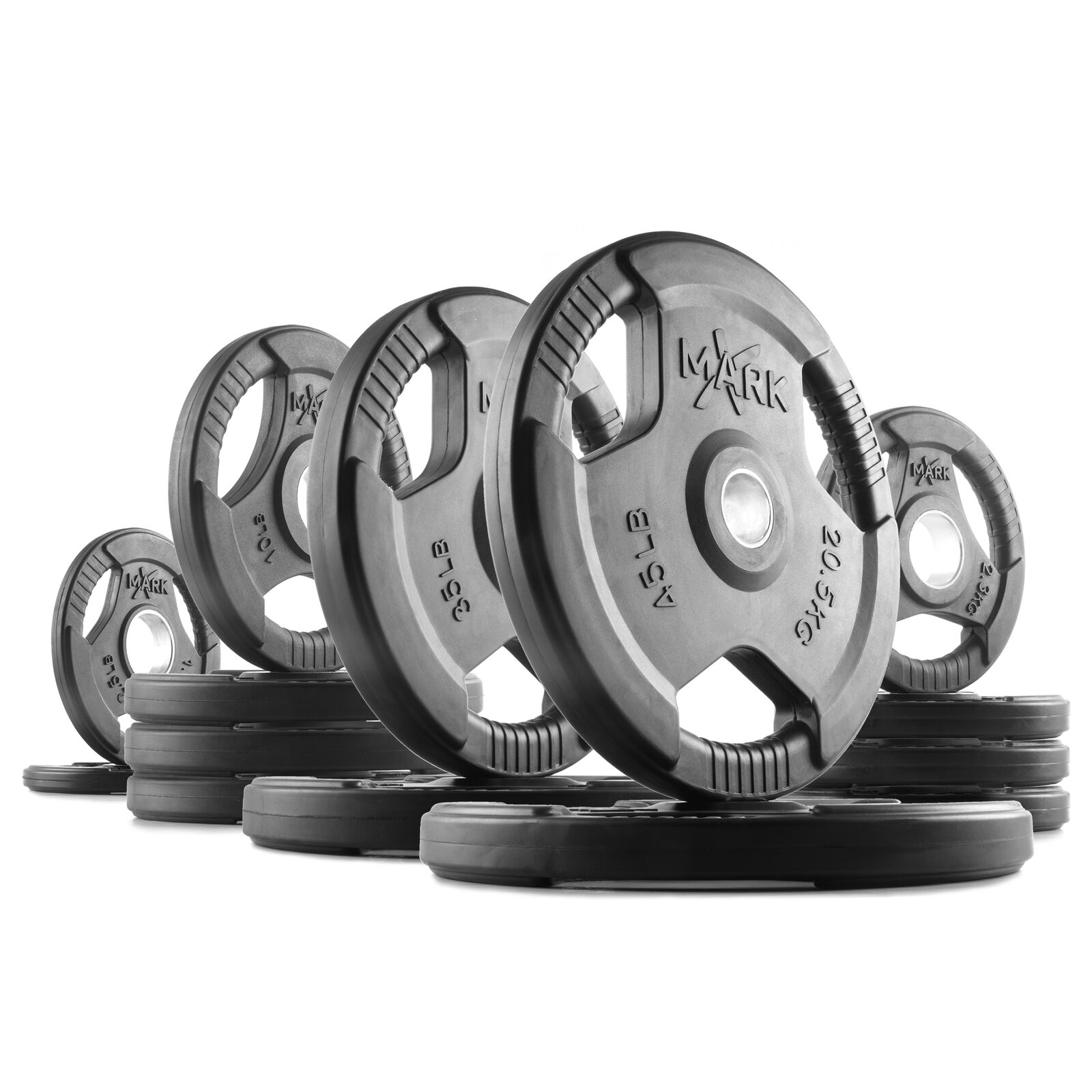 XMark Rubber Coated Tri-Grip Olympic Weight Plates  XM-3377-BAL-225 _ 225 lb. Set  there are more brands of high-quality goods