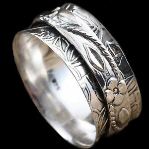 Handmade-solid-925-sterling-silver-Band-Spinner-Ring-jewelry-All-Size-ASHU-002