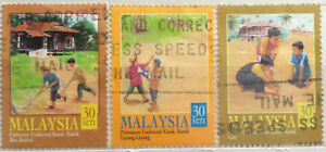 Malaysia Used Stamp - 3 pcs 2000 Children Tradition Games