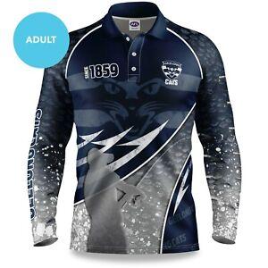 AFL-2020-Long-Sleeve-Fishing-Polo-Tee-Shirt-Geelong-Cats-Adult-Youth
