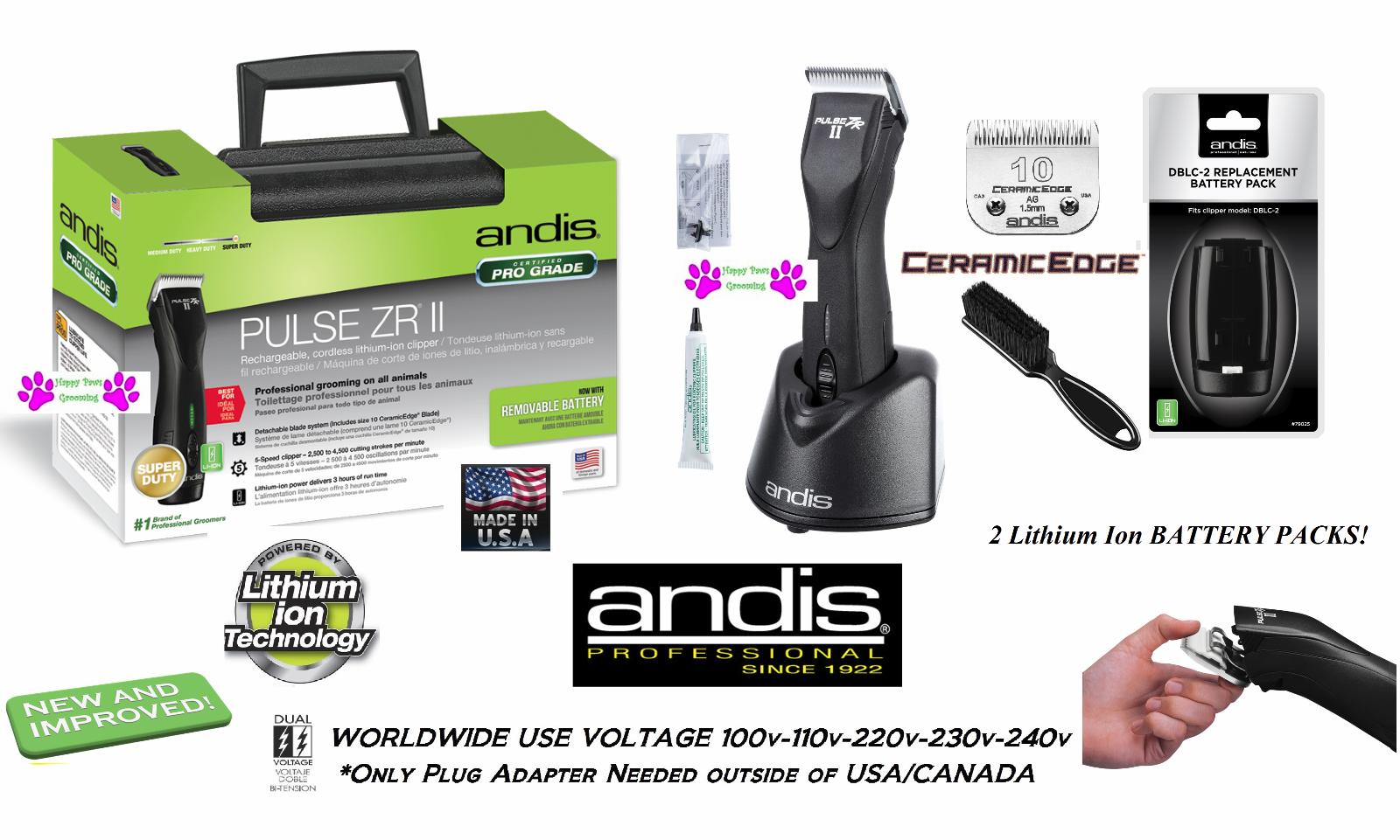 Andis Impuls ZR II Kabellos Li Ion Zange KIT&2 Batterie, Ceramicedge Blade, Case
