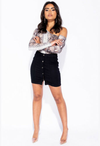 Womens Black Button Front Stretch Denim Mini Skirt Party Going Out