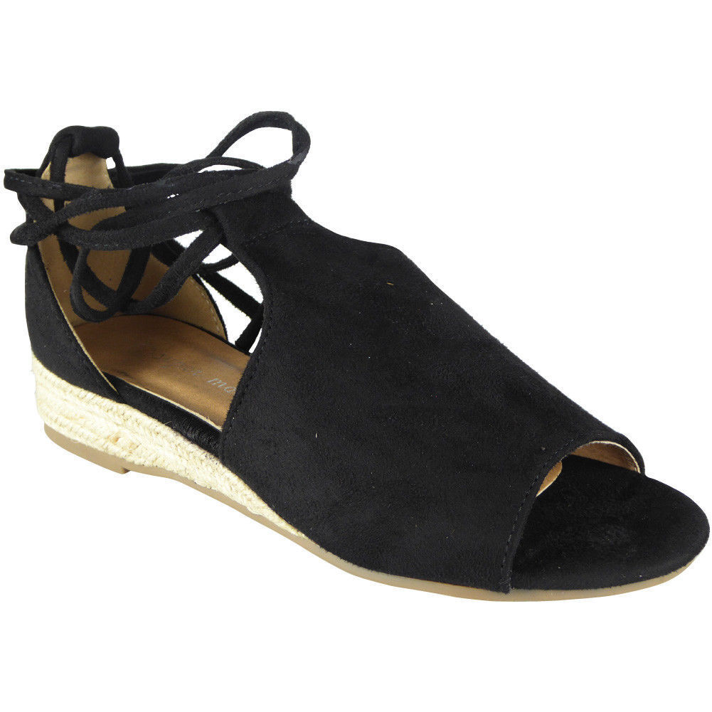 Womens Peeptoe Heel Wedges Ladies Espadrilles Tie Up Comfy Low Heel Peeptoe Wegde Shoes Size ac82b3