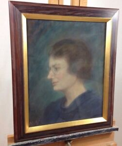 Vintage-Swedish-Pastel-Portrait-A-Lady-With-Glasses-Dated-1937-Signed-To-Back