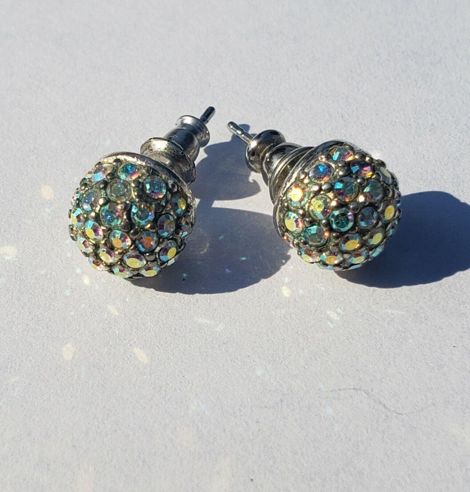 Monet Aurora Borealis Rhinestone Stud  Earrings w… - image 5