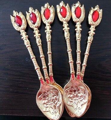 Zamac Turkish Spoons Tulip Tulip Shape Gold Red Ottoman Coffee Tea Serve 6 pc